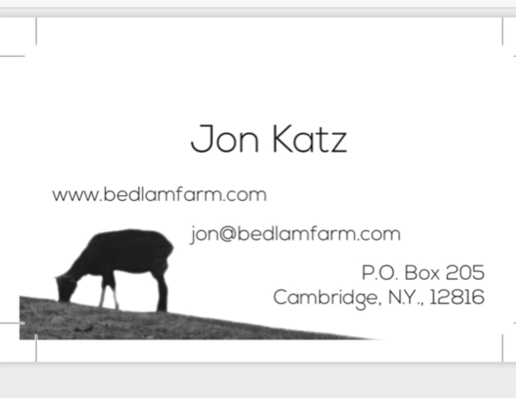 Final Design: My Business Cards. Thanks For Your Help - Bedlam Farm ...